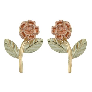 Delicate Roses Black Hills Gold Earrings - Jewelry