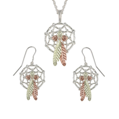 Sterling on Black Hills Gold Dreamcatchers Earrings & Pendant Set I - Jewelry
