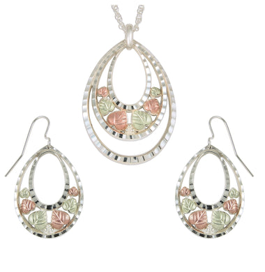Sterling on Black Hills Gold Ovals Earrings & Pendant Set - Fortune And Glory - Made in USA Gifts