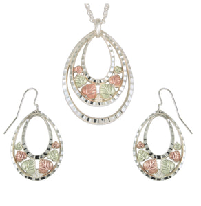Sterling on Black Hills Gold Ovals Earrings & Pendant Set - Jewelry