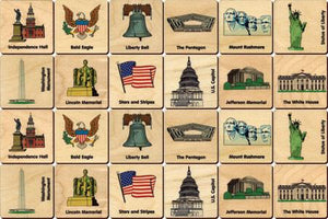 American Icons Memory Tiles Game - Maple Landmark - Wooden Toys