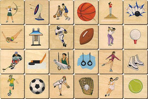 Sports Memory Tiles Game - Wooden Toys