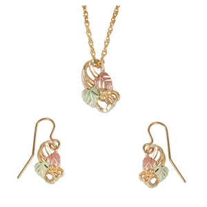 Black Hills Gold Swirly Earrings & Pendant Set