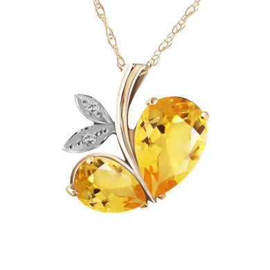 14 Karat Gold Modern Heart w/ Natural Diamond & Citrines Pendant