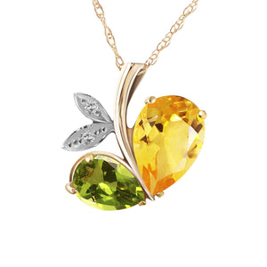 14 Karat Gold Modern Heart Combination Of Citrine, Peridot & Diamonds Pendant