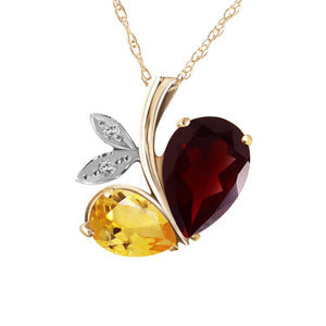 14 Karat Gold Modern Heart Combination Of Garnet, Citrine & Diamonds Pendant