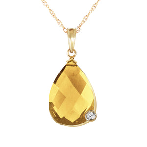 14 Karat Gold w/ Briolette Checkerboard Cut Citrine & Diamond Pendant