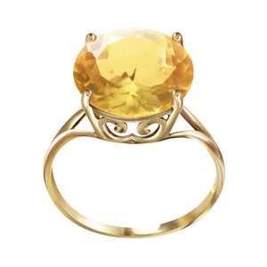 14 Karat Yellow Gold 12.0 mm Round Citrine Ring