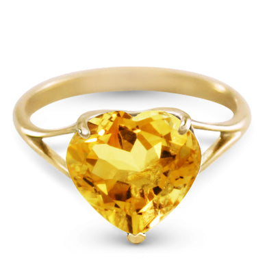 14 Karat Yellow Gold w/ Natural 10.0 mm Heart Citrine Ring