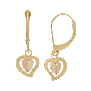 Hanging Hearts Black Hills Gold Earrings - Fortune And Glory - Made in USA Gifts