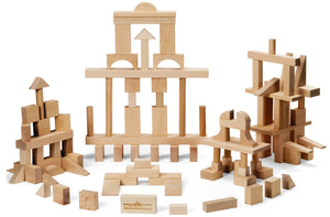 Blocks, Master Builder, 104 Piece - Maple Landmark - Fortune And Glory - Made in USA Gifts