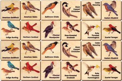 Backyard Birds Memory Tiles Game - Maple Landmark - Wooden Toys