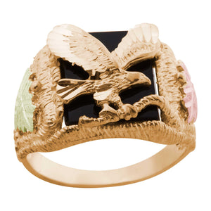 Black Hills Gold Mens Onyx Eagle Ring