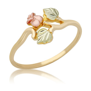 Black Hills Gold Rose & Leaves Ring