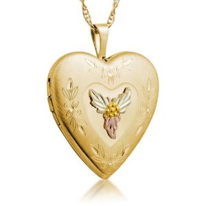 Heart Locket Pendant & Necklace - Black Hills Gold - Jewelry