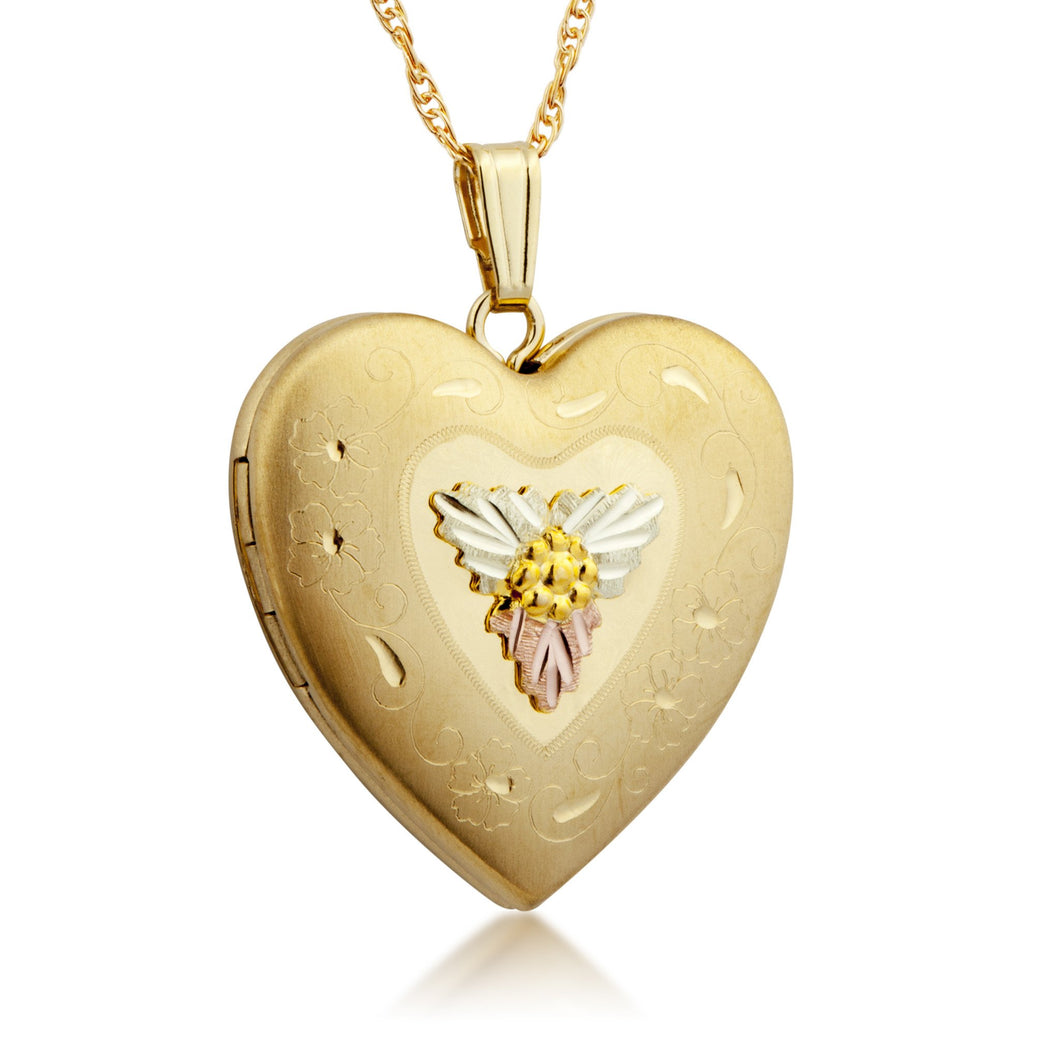 Heart Locket Style II Pendant & Necklace - Black Hills Gold