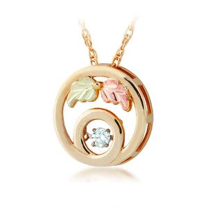 Round Diamond Pendant & Necklace - Black Hills Gold - Jewelry