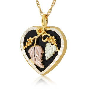Black Heart Pendant & Necklace - Black Hills Gold - Jewelry