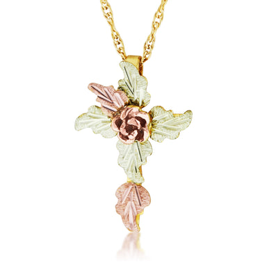Foliage Cross Pendant & Necklace - Black Hills Gold - Jewelry