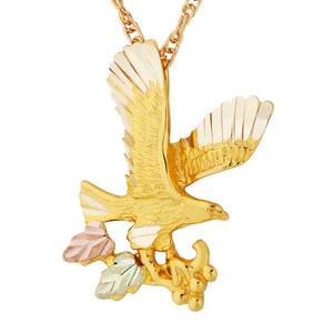 Proud Eagle Pendant & Necklace - Black Hills Gold - Fortune And Glory - Made in USA Gifts