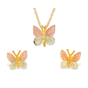 Black Hills Gold Butterflies Earrings & Pendant Set - Jewelry