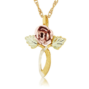 Rose Double Leaf Pendant & Necklace - Black Hills Gold - Jewelry