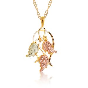 Elegant Leaves Pendant & Necklace - Black Hills Gold