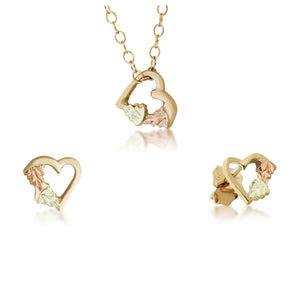 Black Hills Gold Foliage Hearts Earrings & Pendant Set - Jewelry
