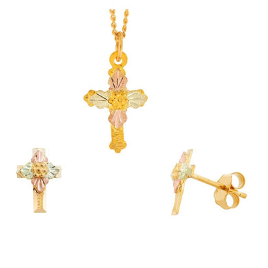 Black Hills Gold Crosses Earrings & Pendant Set I