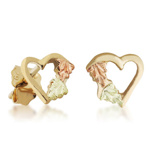 Black Hills Gold Accented Heart Earrings - Jewelry