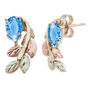 Black Hills Gold Pear Cut Blue Topaz Earrings - Fortune And Glory - Made in USA Gifts