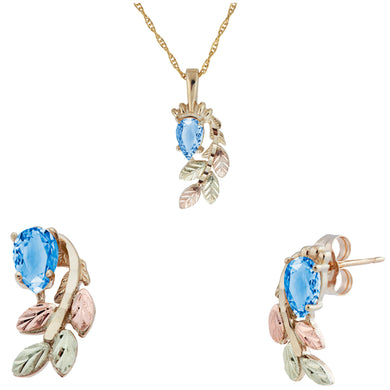Black Hills Gold Pear Cut Blue Topaz Earrings & Pendant Set