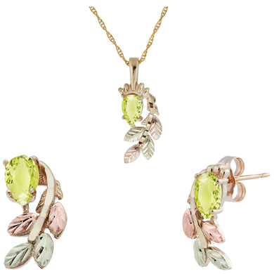 Black Hills Gold Pear Cut Peridot Earrings & Pendant Set - Fortune And Glory - Made in USA Gifts