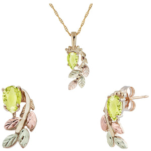 Black Hills Gold Pear Cut Peridot Earrings & Pendant Set