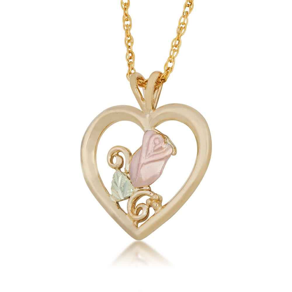 Rose in a Heart Black Hills Gold Pendant & Necklace