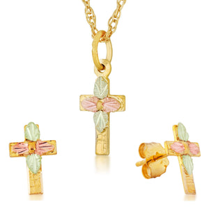 Black Hills Gold Crosses Earrings & Pendant Set II - Fortune And Glory - Made in USA Gifts