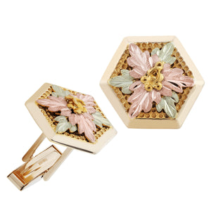Hexagonal Black Hills Gold Cufflink Set - Fortune And Glory - Made in USA Gifts