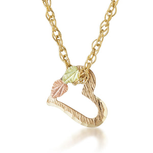 Black Hills Gold Hanging Heart Pendant & Necklace - Jewelry