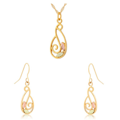 Black Hills Gold Frilly Earrings & Pendant Set