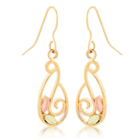 Swirls and Leaves Black Hills Gold Earrings