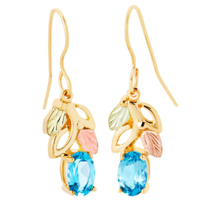Blue Topaz Gold Earrings - Fortune And Glory - Made in USA Gifts