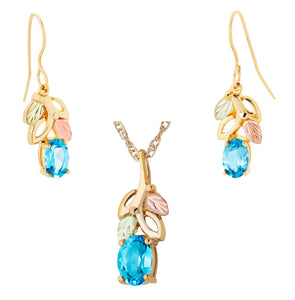 Black Hills Gold with Topaz Earrings & Pendant Set - Fortune And Glory - Made in USA Gifts