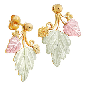 Black Hills Gold Leaves & Grapes Traditional Earrings II
