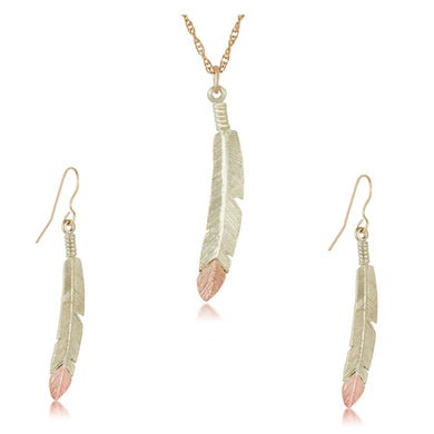 Black Hills Gold Feathers Earrings & Pendant Set - Jewelry