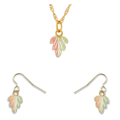 Black Hills Gold Colorful Foliage Earrings & Pendant Set