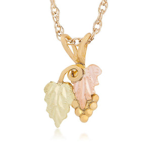 Black Hills Gold Two Leaf Pendant & Necklace - Jewelry