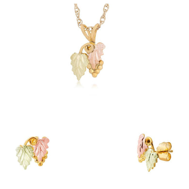 Black Hills Gold Foliage Grapes Earrings & Pendant Set VI