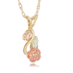 Black Hills Gold Hanging Rose Pendant & Necklace - Jewelry