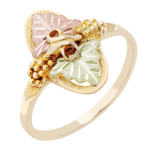 Black Hills Gold Opposing Leaves Ring - Jewelry