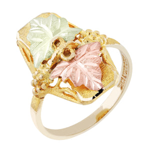 Black Hills Gold Squared Cluster of Leaves Ring by Landstroms at Fortune And Glory - Made in USA Gifts
